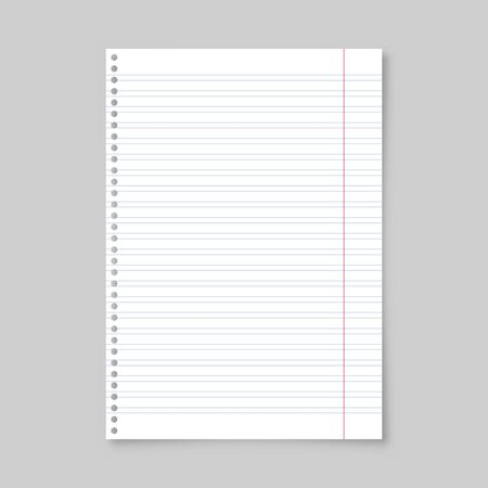 Realistic blank lined paper sheet with shadow in A4 format isolated on gray background. Notebook or book page. Design template or mockup. Vector illustration. Ilustração