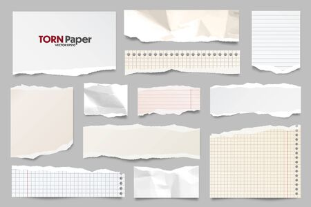 Colored ripped lined paper strips collection. Realistic paper scraps with torn edges. Sticky notes, shreds of notebook pages. Vector illustration 일러스트