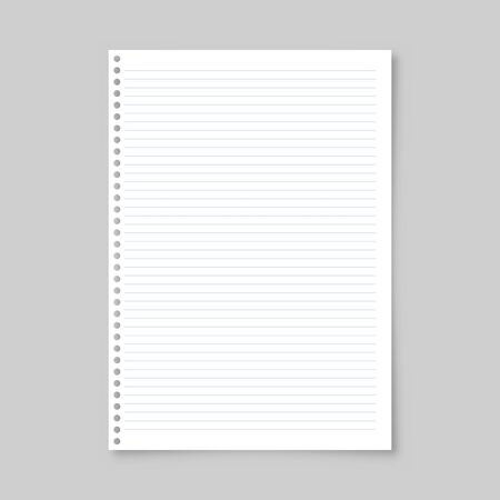Realistic blank lined paper sheet with shadow in A4 format isolated on gray background. Notebook or book page. Design template or mockup. Vector illustration