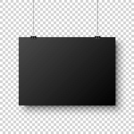 Hoja de papel en blanco colgante negro realista con sombra en formato A4 y clip de papel, carpeta sobre fondo transparente a cuadros. Diseño de cartel, plantilla o maqueta. Ilustración de vector.
