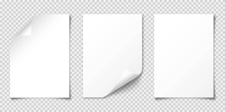 Realistic blank paper sheet with shadow in A4 format isolated on transparent checkered background. Notebook or book page. Design template or mockup. Vector illustration.