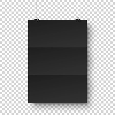 Realistic black hanging blank paper sheet with shadow in A4 format and paper clip, binder on transparent checkered background. Design poster, template or mockup. Vector illustration.