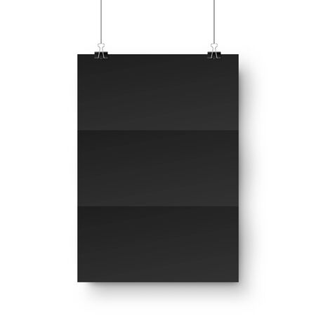Realistic black hanging blank paper sheet with shadow in A4 format and paper clip, binder on white background. Design poster, template or mockup. Vector illustration.