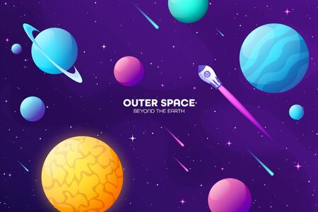 Space futuristic modern colorful background with rocket. Starship, spaceship in night sky. Solar system, galaxy and universe exploration. Vector illustration. Çizim