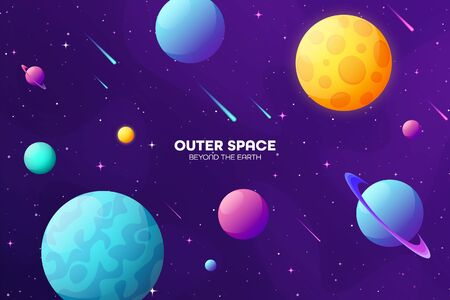 Space futuristic modern colorful background. Night sky. Solar system, galaxy and universe exploration. Vector illustration.