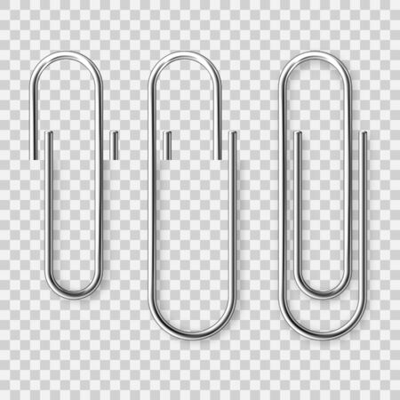 Realistic metal paper clip on checkered background. Page holder, binder. Vector illustration.