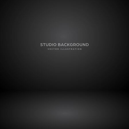 Empty black gray studio abstract background with spotlight effect. Product showcase backdrop. Illustration