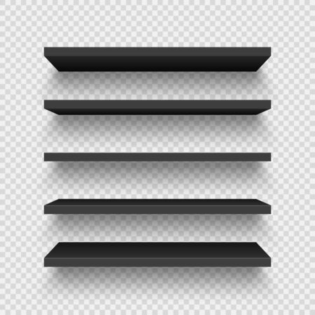 Realistic black wall shelf collection on checkered background. Empty store rack. Vector illustration