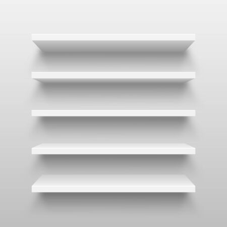 Realistic white wall shelf collection on abstract studio background. Empty store rack. Vector illustration