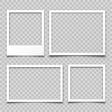 Realistic empty photo card frame, film set. Retro vintage photograph. Digital snapshot image. Template or mockup for design. Vector illustration.