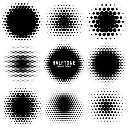 Éléments de conception de demi-teintes de cercle avec des points noirs isolés sur fond blanc. Motif en pointillé comique. Illustration vectorielle. Vecteurs