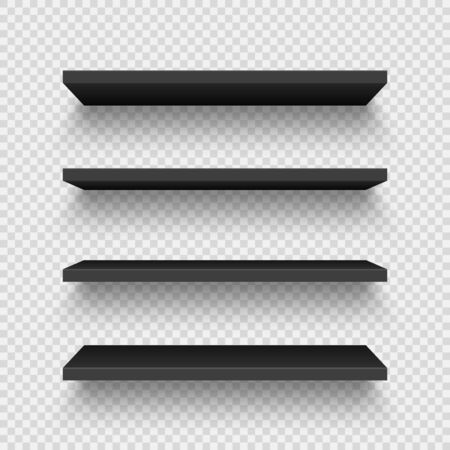 Realistic black wall shelf collection on checkered background. Empty store rack. Vector illustration.