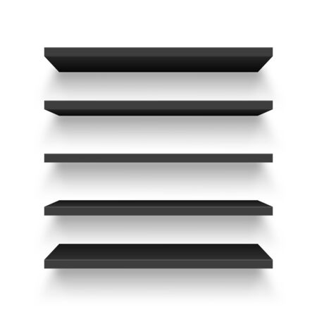 Realistic black wall shelf collection isolated on white background. Empty store rack. Vector illustration.  イラスト・ベクター素材
