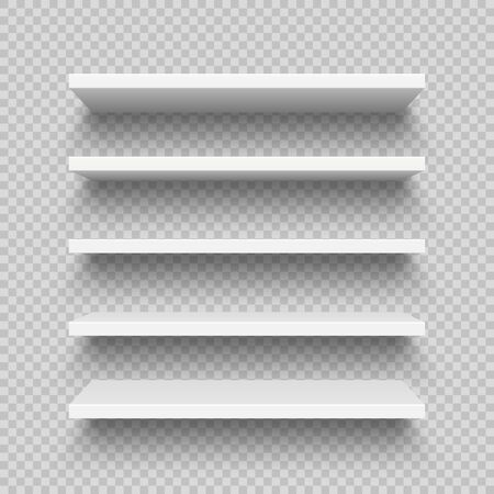 Realistic white wall shelf collection on checkered background. Empty store rack. Vector illustration