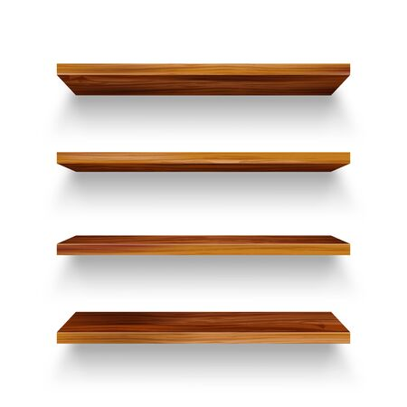 Realistic empty wooden store shelves set. Product shelf with wood texture. Grocery wall rack. Vector illustration