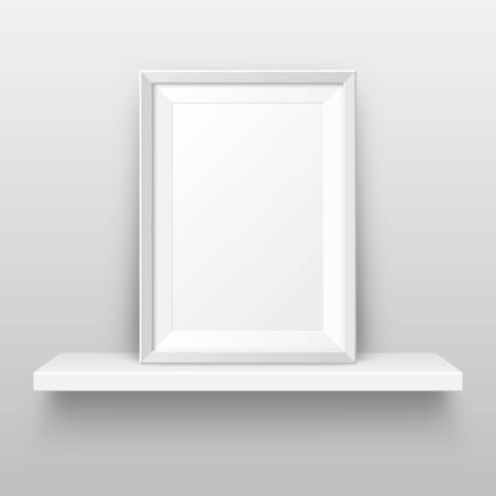 Realistic wall shelf with empty picture frame. Poster mockup for design. Vector Illustration
