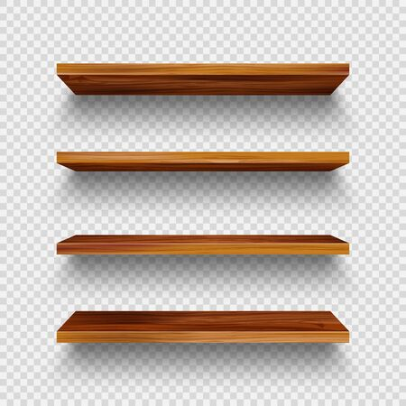 Realistic empty wooden store shelves set. Product shelf with wood texture. Grocery wall rack. Vector illustration.  イラスト・ベクター素材