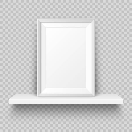 Realistic wall shelf with empty picture frame. Poster mockup for design. Vector Illustration.