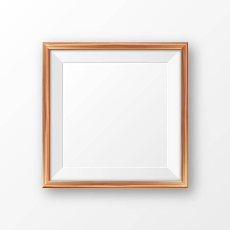 Realistic blank wooden picture frame. Modern poster mockup. Empty photo frame with texture of wood. Art gallery. Vector illustration Foto de archivo - 140193010