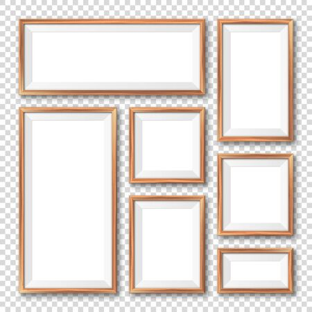 Realistic blank wooden picture frames collection. Modern poster mockup. Empty photo frame with texture of wood. Art gallery. Vector illustration Foto de archivo - 140195696