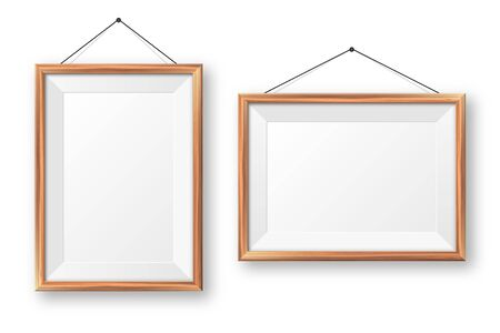 Realistic hanging on a wall blank wooden picture frame. Modern poster mockup. Empty photo frame with texture of wood. Art gallery. Vector illustration Banque d'images - 140195669