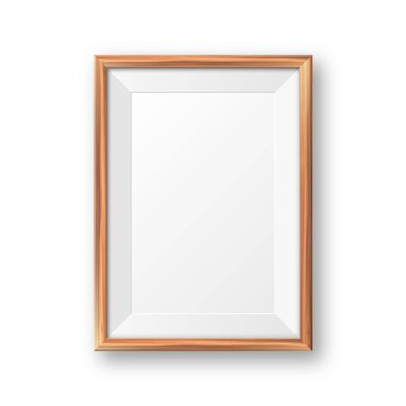 Realistic blank wooden picture frame. Modern poster mockup. Empty photo frame with texture of wood. Art gallery. Vector illustration Foto de archivo - 140195794