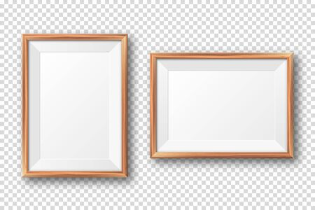 Realistic blank wooden picture frame. Modern poster mockup. Empty photo frame with texture of wood. Art gallery. Vector illustration Banque d'images - 140195682