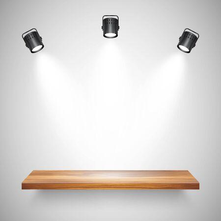 Illuminated realistic wooden wall shelf. Empty store rack. Studio background with spotlights. Vector illustration Foto de archivo - 140195706