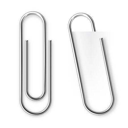 Realistic tilted metal paper clip. Page holder, binder. Vector illustration.