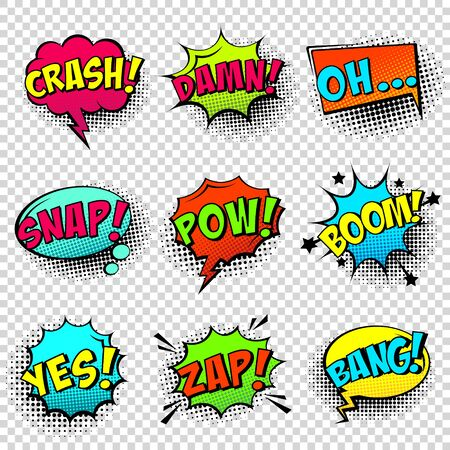Comic colored speech bubbles with halftone shadow and text phrase. Sound expression of emotion. Hand drawn retro cartoon stickers. Pop art style. Vector illustration. 일러스트