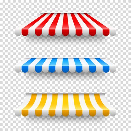 Shop sunshade. Realistic striped cafe awning. Outdoor market tent. Roof canopy. Summer street store. Vector illustration