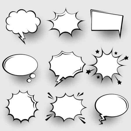 Collection de bulles vides de bande dessinée avec des ombres en demi-teintes. Autocollants de dessin animé rétro dessinés à la main. Style pop-art. Illustration vectorielle.