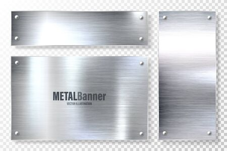 Realistic shiny metal banners set. Brushed steel plate. Polished silver metal surface. Vector illustration