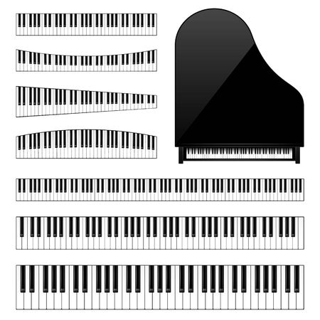 Realistic piano keys set. Musical instrument keyboard. Vector illustration.