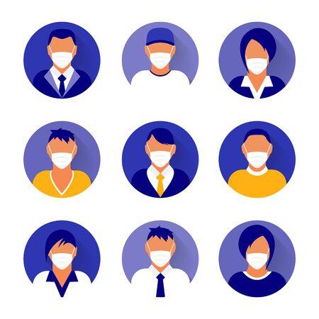 Flache moderne minimale Avatar-Symbole mit medizinischer Maske. Vektorgrafik