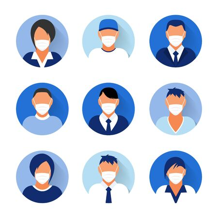 Flat modern minimal avatar icons with medical mask. Business concept, global communication. Web site user profile. Social media, network elements Vector Illustratie