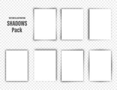 Vector shadows set. Page dividers on transparent