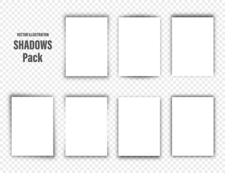 Vector shadows set. Page dividers on transparent background. Realistic isolated shadow and white blank paper in A4 format. Vector illustration