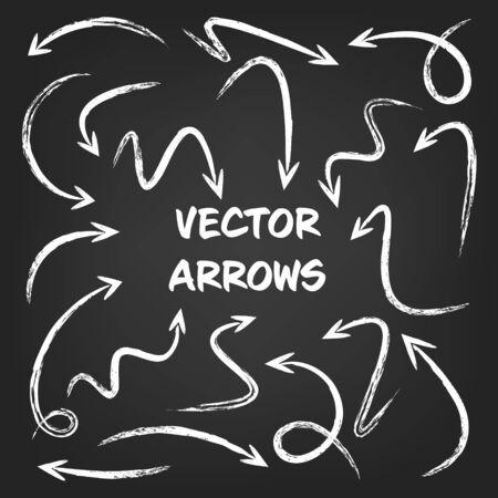 White grunge hand drawn arrows set on gray