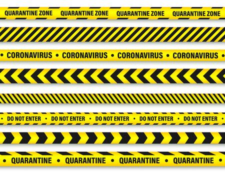Quarantine zone warning tape. Novel coronavirus outbreak. Global lockdown. Coronavirus danger stripe. Police attention line. Vector illustration.