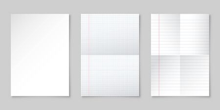 Realistic blank lined paper sheet with shadow in A4 format. Notebook or book page. Design template or mockup. Vector illustration.