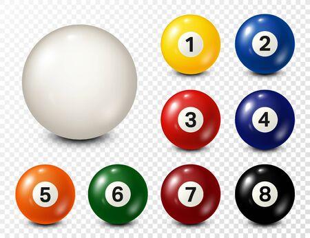 Billard, Billardkugeln mit Zahlensammlung. Realistischer, glänzender Snookerball. Weißer Hintergrund. Vektor-Illustration.