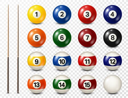 Billiard, pool balls with numbers collection. Realistic glossy snooker ball. White background. Vector illustration.