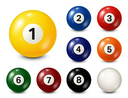 Billiard, pool balls with numbers collection. Realistic glossy snooker ball. White background. Vector illustration Vector Illustratie