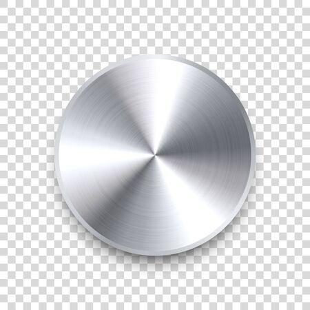 Realistic metal chrome button. Silver steel volume control knob. Application interface design element. App icon. Vector illustration