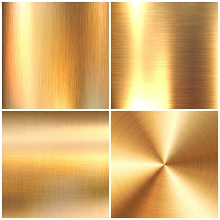 Realistic brushed metal textures set. Polished stainless steel background. Vector illustration Vettoriali