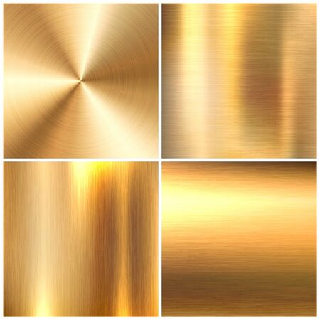 Realistic brushed metal textures set. Polished stainless steel background. Vector illustration