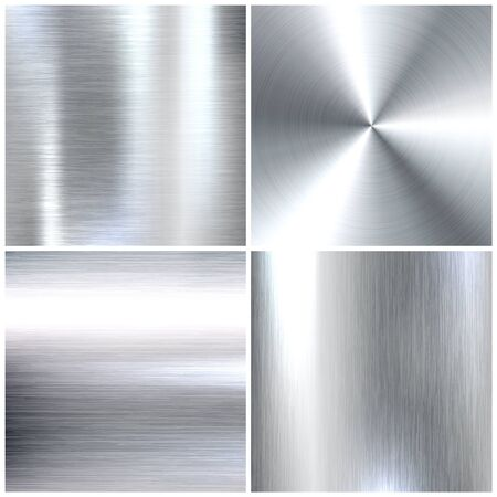 Ensemble de textures réalistes en métal brossé. Fond en acier inoxydable poli. Illustration vectorielle