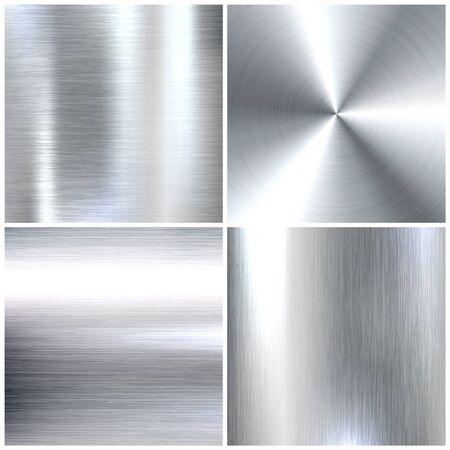 Realistische Texturen aus gebürstetem Metall. Hintergrund aus poliertem Edelstahl. Vektor-Illustration