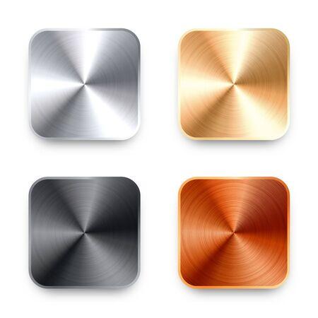 Realistic square metal chrome button. Steel volume control knob. Application interface design element. App icon. Vector illustration